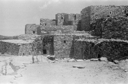 View of stepped stone buildings ...