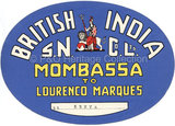 Baggage Label  - B.I from Mombasa