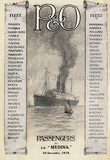 P&O Passenger List for MEDINA 1915
