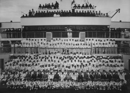 Chairman and ship's company onboard HIMALAYA