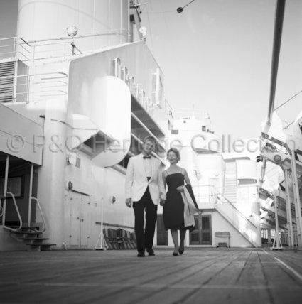 Couple on promenade deck onboard ORCADES