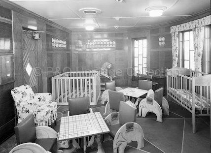 Tourist Class Nursery onboard STRATHNAVER