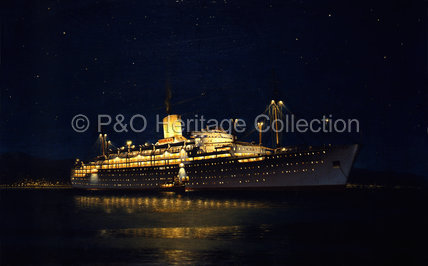 CHUSAN at night at anchor