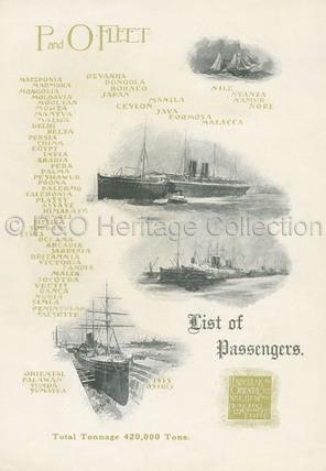 P&O Passenger list for EGYPT, 1908