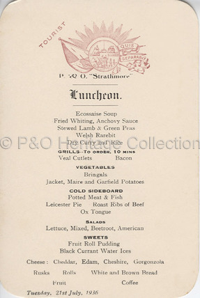 P&O Tourist Class Lunch menu, 1936