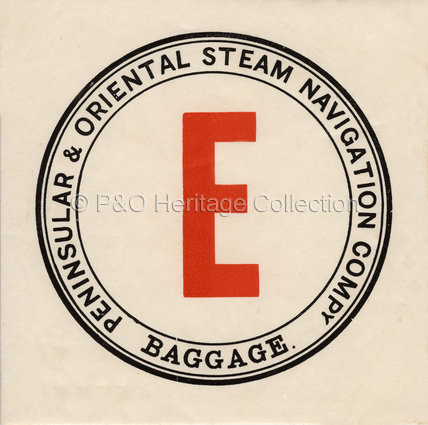 P&O.S.N.Co. Baggage Label