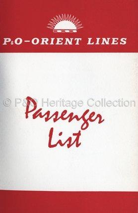 CANBERRA passenger list