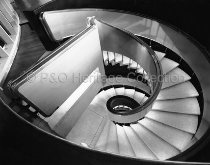 CANBERRA's First Class spiral staircase