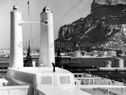 CANBERRA moored at Gibraltar