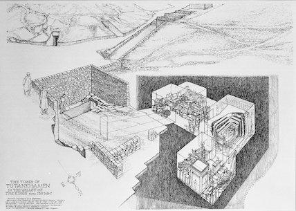Plan of the tomb of Tutankhamun, drawn in 1978
