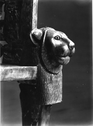 Carved lion head from the King's Golden Throne