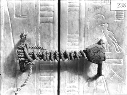 The intact seal upon the doorway of the third shrine