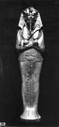 The (third) innermost coffin of Tutankhamun made of solid gold