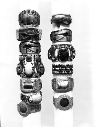 Bracelets found on the arms of Tutankhamun's mummy