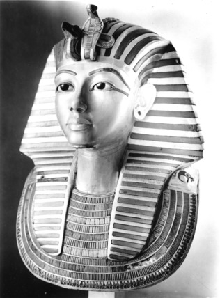 The gold mask of Tutankhamun, viewed from the right