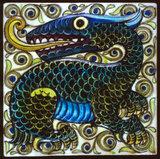 Tile with dragon design, by William De Morgan & Co