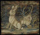 Embroidered picture wth two hares, by Mrs Butts