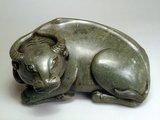 Chinese carved jade recumbent buffalo