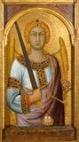 St Michael, with an angel above, by Simone Martini