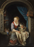 Woman at a window, by Gerrit Dou