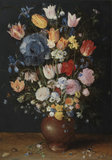 A stoneware vase of flowers, by Jan Brueghel the elder