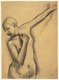 Half-length nude girl, left arm uplifted, by Degas