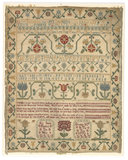 Embroidered border sampler, by Ann Smith