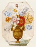 Flowers in a vase which stands on a marble ledge, by Nicolas Robert
