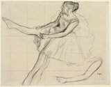 Danseuse rajustant son maillot, by Degas