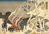 Hunters in the Snow, by Katsushika Hokusai