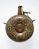 Circular Powder Flask Inlaid with Brass and Ivory