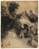 St Jerome reading in an Italian landscape, by Rembrandt