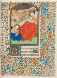 Nativity, the Virgin reading, Besancon Book of Hours
