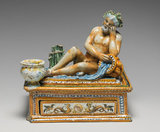 Maiolica inkstand with a river god