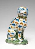 English Delftware dog shaped money box