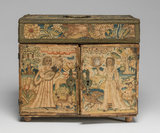 English cabinet with embroidered panels