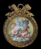 A brown vase of roses, by Gerard van Spaendonck