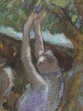 Danseuses aux jupes violettes, bras leves, by Degas