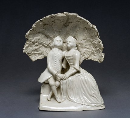 Lady and gentleman in an arbour, Staffordshire Pottery