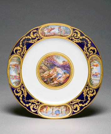 Sevres plate from Louis XVI Service, after Boucher