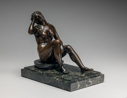 Italian bronze figure of a sleeping nymph