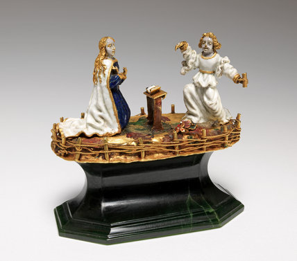 The Annunciation, enamel figure group
