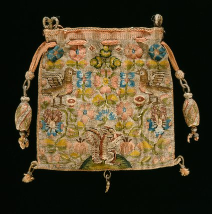 English tapestry weave purse