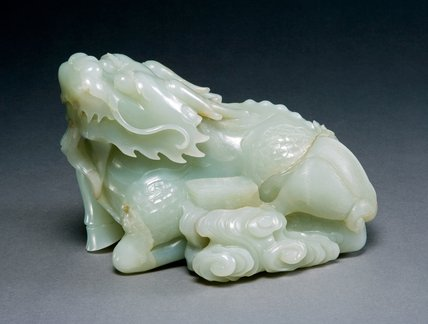 Jade Carved Qilin with the Tian Shu, Chinese