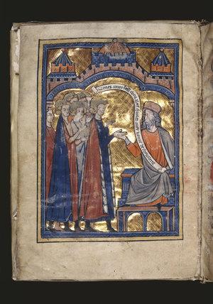 Vegetius Receiving Prince Edward (King Edward I), folio 2 verso