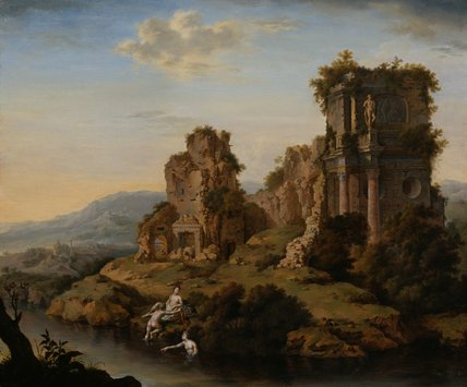 Landscape with ruins, nymphs bathing, by Willem van Mieris