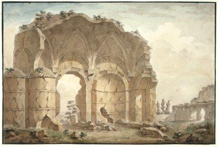 Capriccio, classical ruin in landscape, by Clerisseau