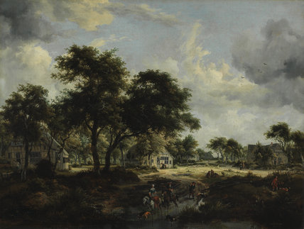 Wooded landscape, by Meindert Hobbema