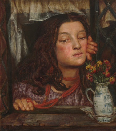 Girl at a lattice, by Rossetti