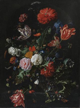 Flowers In A Glass Vase By Jan Davidsz De Heem By Heem